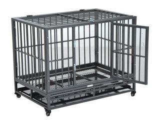 PawHut 36in  Heavy Duty Steel Dog Crate Kennel Pet Cage w  Wheels  Retail 145 99
