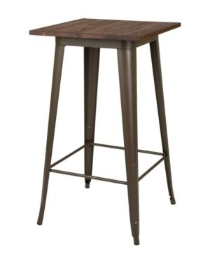 Industrial Metal and Wood Bar Table   Glitzhome