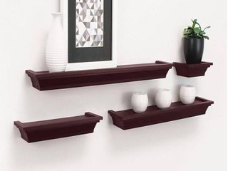 Set of 4 Home Decor Storage Display Wall Floating Shelves   White