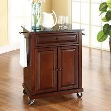 Mahogany Copper Grove Kawartha Solid Black Granite Top Portable Kitchen Cart  Island in Vintage Mahogany Finish Retail  381 49