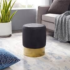 Artleon Round Velvet Ottoman in Black and Gold