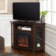 48in Espresso Corner Two Door Fireplace TV Stand