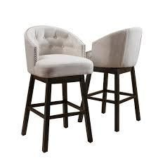 Ogden 35 inch Fabric Swivel Backed Barstool  Set of 2  by Christopher Knight Home  Beige