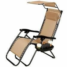 Zero Gravity Folding Patio lounge Beach Chairs w  Canopy Magazine Cup Holder Awning