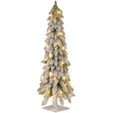 3 foot Snowy Christmas Tree with Flocking and 50 Clear lights