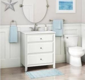 Style selections 30 in matte white single sink bathroom vanity with white engineered stone top