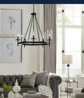 Progress lighting strahan collection chandelier with clear glass