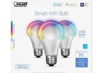 Feit electric feit smart wifi 60 watt eq A19 color enhancing dimmable smart lED light bulbs  3 pack