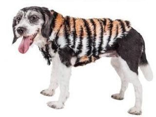 Pet life luxe tigerbone glamourous tiger patterned mink fur dog cat  extra small