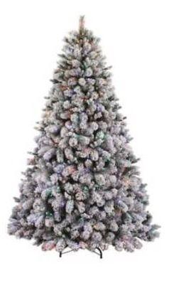 Holiday living 7 5 ft prelit flocked Albany pine tree  lights do not work