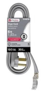 6 ft 3 prong gray dryer appliance power cord