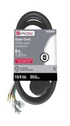 6 ft 4 prong black dryer appliance cord