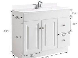 Wyndham 36 in white vanity cabinet
