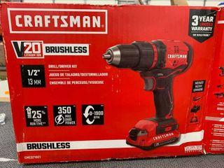 Craftsman 20 volt brushless drill driver kit  works great