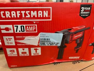 Craftsman 7 0 amp 1 2a corded hammer drill  plugged in and it turned on