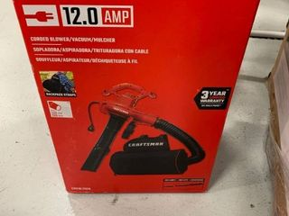 Craftsman 12 0 amp corded blower vacuum mulcher  plugged in and turned on