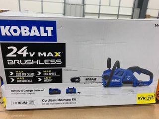 Kobalt 1447232 24v Max Brushlesss Cordless 12  Chainsaw W battery   Charger