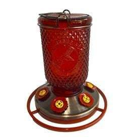 Garden Treasures Red Mason Jar Hummingbird Feeder