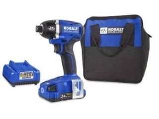 Kobalt 24 volt 1 4 in brushless impact driver with battery  charger  and bag  tested works