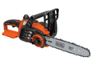 Chainsaw  Black DECKER 20V Max  lithium Chainsaw with 10  Oregon Bar and Chain and Tool Free Tensioning  Orange Sorbet  tested works