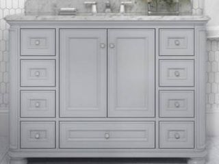 Allen and Roth wrightsville 48 in light Gray single sink bathroom vanity with natural carrara marble top  marble top is broken