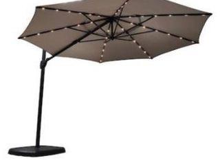 Simplyshade 11 ft octagon griege with black aluminum frame solar powered crank cantilever patio umbrella and base