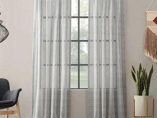 Clean Window Textured Slub Stripe Anti Dust Curtain Panel  Grey   52 x 95