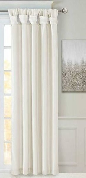 Madison Park Emilia Twisted Tab lined Single Curtain Panel  50 W X 95 l   White