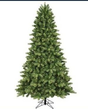 GE 7 5 ft pre lit lED Colorado spruce Christmas tree  lights work  One middle branch is broken