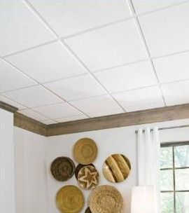 24 in x 24 in Sahara 16 Pack White Smooth 9 16 in Drop Acoustic Panel Ceiling Tiles