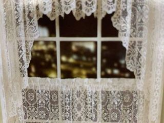 White lace luxurious Old World style Kitchen Tier curtain panel pair