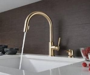 Trask Champagne Bronze 1 Handle Deck Mount Pull Down Handle Kitchen Faucet  Deck Plate Included