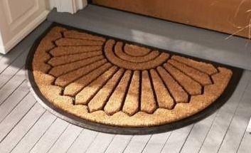 Allen Roth 2 ft x 3 ft Black Semicircle Outdoor Door Mat