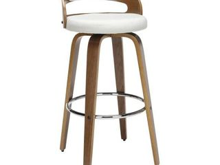 30  low Back Bentwood Frame Mid Century Modern Swivel Seat Barstool with Fabric Back and Cushion Beige   OFM