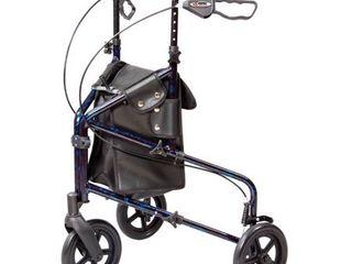 Carex 3 Wheel Walker for Seniors  Foldable  Rollator Walker with Three Wheels  Height Adjustable Handles
