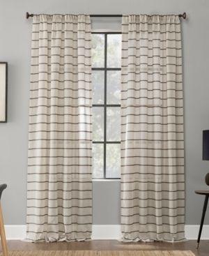 Set of 2 63 x52  Twill Stripe Anti Dust Sheer Curtain Panel light Brown   Clean Window