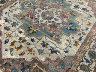 Premier Magnolia   Ivory Blue   Oriental Style Are Rug   7 9  x 9 5