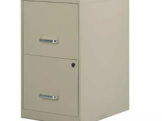 Two Drawer Beige Filing Cabinet   Slight Damage   See Photos
