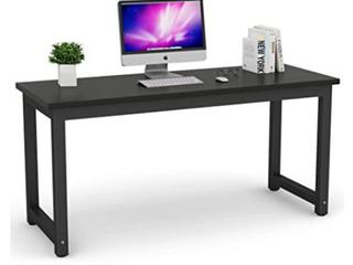 Tribesigns Modern Computer Desk   63    Solid Metal Frame   Dark Wood Black Metal