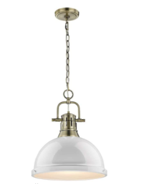 Golden lighting   Outdoor Pendant light with large Metal Shade   White