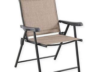 Destination Summer Never Rust Aluminum Folding Sling Chairs 2 Set   Brown