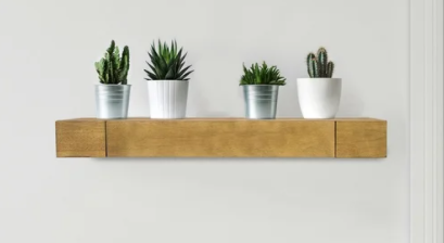 Floating Wall Shelf with Drawer   Brown   36  x 8