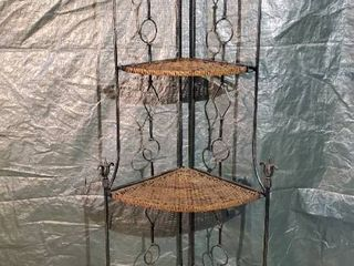 Collapsible Wrought Iron Wicker Shelf