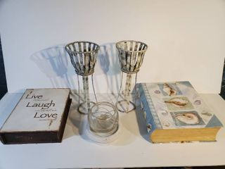 lot of 5 Home Decor Pieces  Candle Holders and Hide a Books