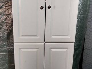 White laminate Cabinet with Top and lower Cabinets