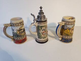 lot Of 3 Collectible Beer Steins  1 With lid