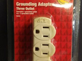 Ace Grounded Triple Outlet Adapter Ivory 15 amps 125 volts 1 pk
