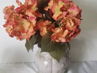 Faux Pink Hydrangeas with Cute Pot in Pebbles