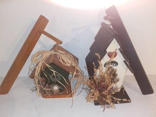 lot of 2 Wooden Birdhouses with Hanging Attachments