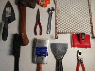 lot of Various Tools   Scraper Pliers Axe